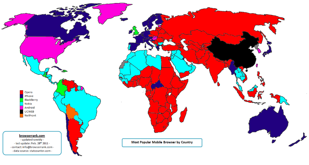 Operas new app store and portal nokia and android browsers which have 15 to 18 percent market shares as this map shows it reaches parts of the world where iphone and android dont yet gumiabroncs Images