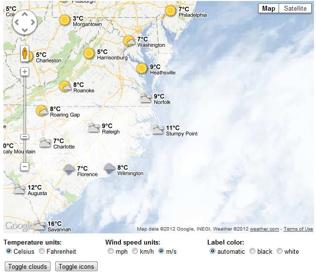 Google Maps Weather Layer API