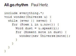 Writing Code As Poetry; Poetry As Code