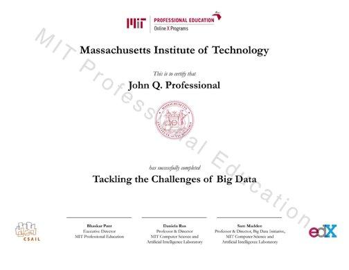 MIT Professional Education MOOC on Big Data