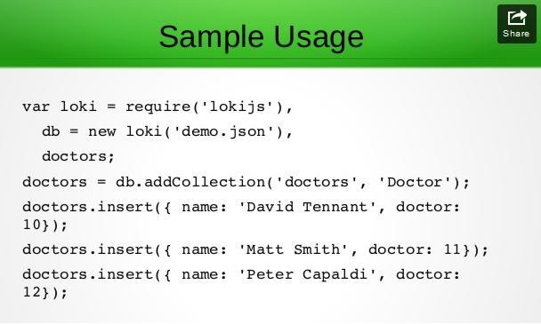 LokiJS - A JavaScript Database