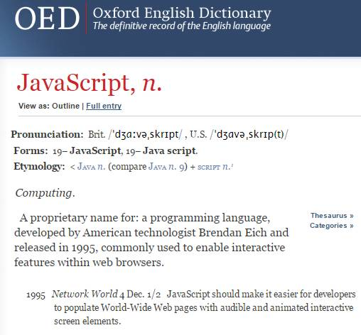 JavaScript Added To Oxford English Dictionary