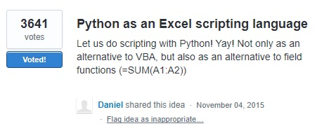 Python for Excel Scripting Under Consideration