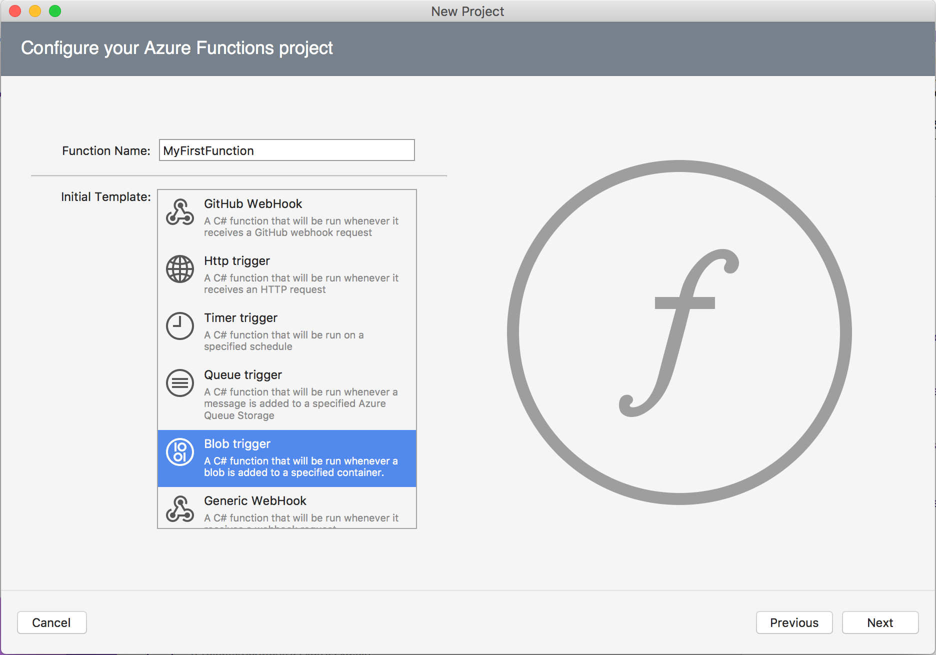 Azure functions in Visual Studio for Mac