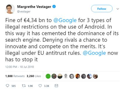 Android May Not Remain Free After EU Fines Google $5 Billion For Antitrust Violations