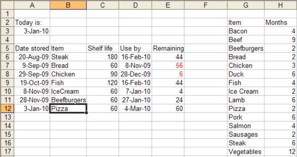 calculating with dates in excel 2003